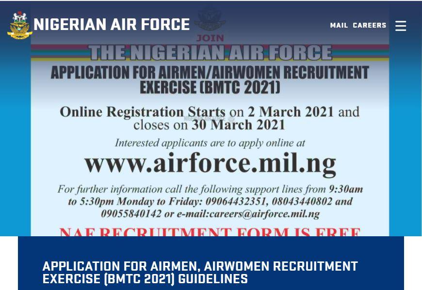 Nigerian Air Force Recruitment for Airmen / Airwomen BMTC 2021