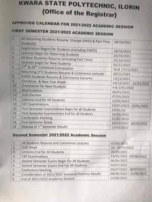 Kwara Poly Academic Calendar